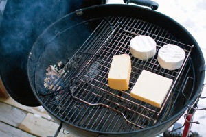 The setup for cold-smoking cheese