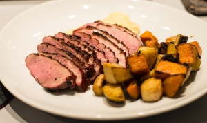 Grilled duck breast with winter vegetables
