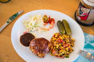 Tastes great with some grilled corn salsa, coleslaw and homemade bourbon-pickled jalapenos!