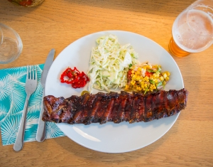 Baby back ribs, green apple slaw and grilled corn salsa. Nuff said. EAT!